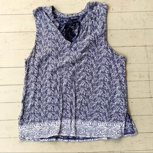 Lucky brand navy white tie front tank large